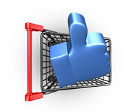 Thumb up in shopping cart, 3D rendering Stock Images