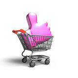 Thumb up in shopping cart, 3D rendering Stock Image