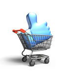 Thumb up in shopping cart, 3D rendering Royalty Free Stock Images