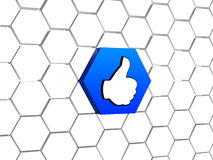 Thumb up sign in blue hexagon Royalty Free Stock Images