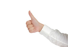 Thumb Up Sign Hand Gesture Isolated on White Stock Photography