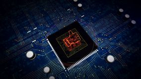 CPU on board with hand like hologram