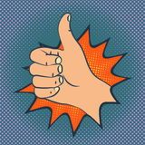Thumb up sign. Human hand with big thumb, pop-art style illustration Stock Photo