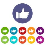 Thumb up sign set icons Stock Images