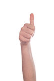 Thumb up sign on white background Stock Photos