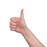 Thumb up sign on white background Stock Photography