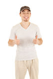 Thumb up sign by worker Stock Photography