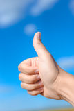 Thumb up in the sky Royalty Free Stock Images