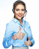 Thumb up smiling woman operator. Head set with mic Stock Image