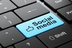 Thumb Up and Social Media on computer keyboard Royalty Free Stock Images