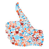 Thumb up Social media icons hand Stock Images