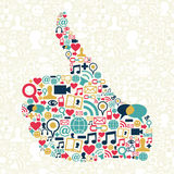Thumb up Social media icons texture. I like Social media hand over networks icon texture background. Vector file layered for easy manipulation and custom Stock Photos