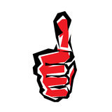 Thumb up stylized vector symbol. Success gesture vector illustration