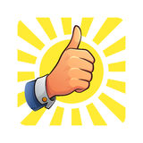 Thumb Up of Success. Image of thumb up hand with sunlight background Royalty Free Stock Images