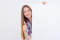 Thumb up for success. Stock Photo