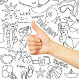 Thumb up and summer sketches Stock Images