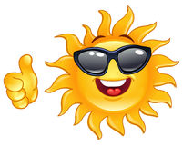 Thumb up sun. Smiling sun showing thumb up Royalty Free Stock Photography