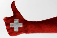 Thumb up switzerland Stock Photography