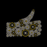 Thumb Up symbol conceptual jewelry design. Made from silver and golden seed beads. Luxury jewelry symbol design Royalty Free Stock Photography