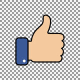 Thumb up symbol, finger up icon vector illustration. Like hand sign Royalty Free Stock Images