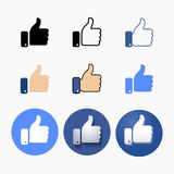 Thumb up symbol, finger up icon vector illustration. Like hand sign Royalty Free Stock Photo