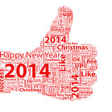 Thumb Up Symbol 2014. Thumbs up symbol 2014 year, which is composed of text. Isolated on white Royalty Free Stock Photo
