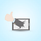 Thumb up tablet pc stock illustration