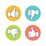 Thumb up and thumb dow. N symbol, finger up down icon vector illustration. Like unlike sign isolated on white background. Vector illustration Stock Photography