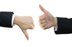 Thumb up and thumb down. Business man hand signs Royalty Free Stock Photo