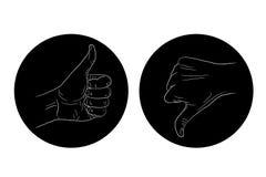 Thumb up thumb down black and white icon Royalty Free Stock Photos