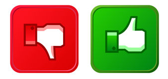 Thumb up and thumb down button. Isolated on white stock illustration