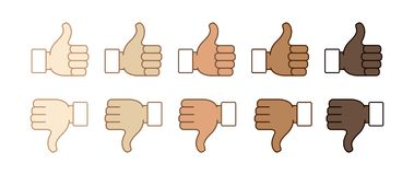 Thumb up and thumb down. Hand emojis thumb down and thumb up, stickers in all skin colors, emoticons flat vector illustration symbols set, collection. Like Royalty Free Stock Image