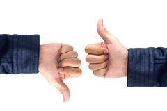 Thumb up and thumb down hand signs isolated on white  , Like & B Stock Images