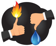 Thumb up and thumb down. Hands are showing thumb up with a fire flame and thumb down with a water drop Royalty Free Stock Photography