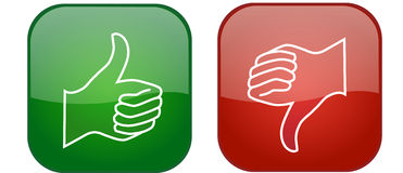 Thumb up and thumb down icons. Isolated on the white background Stock Photography