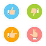 Thumb Up, Thumb Down, Peace Hand, Forefinger Icons Set Royalty Free Stock Photo