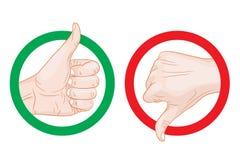 Thumb up thumb down symbols Stock Photos