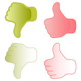 Thumb up and thumb down. Thumbs up and down icons in red and green colors Stock Photography