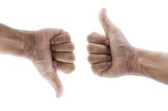 Thumb up and thumb down Royalty Free Stock Photo