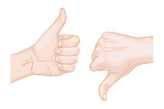 Thumb up thumb down Royalty Free Stock Photography