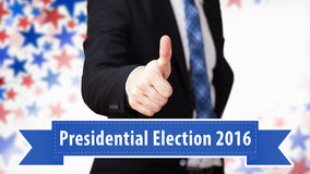Thumb up to presidential election 2016 Stock Photography