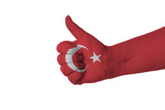 Thumb up for Turkey. Isolated on a White Background Royalty Free Stock Images