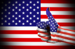 Thumb up for USA  Royalty Free Stock Photography