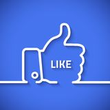 Thumb up vector icon with long cool shadow in line Stock Image