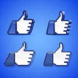 Thumb up. Vector set of high detailed thumb up symbols on blue background vector illustration