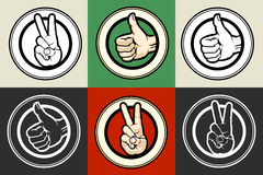 Thumb up and Victory gestures emblem set Stock Photography