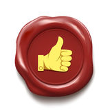 Thumb up on wax seal. Like icon. Royalty Free Stock Image