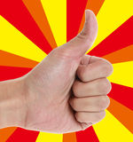 Thumb Up. Whit cool colorful background royalty free stock photo
