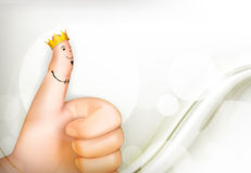 Thumb up white background Stock Photo