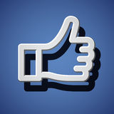 Thumb up white hand symbol. Illustration for the web Stock Photos